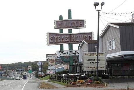 The iconic sign marked the entrance to Hilltop, a fixture on Route 1 in Saugus since 1961.