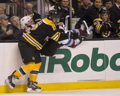 Later, Jarome Iginla sent Andre Benoit into the boards.