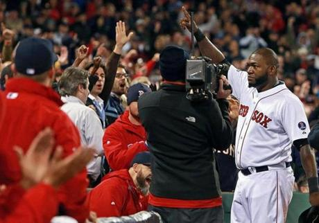 David Ortiz saluted the Fenway Park crowd as he took a curtain call following his eighth-inning, game-tying grand slam.