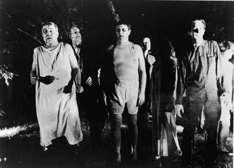 "Undead zombies in a still from the 1968 film ""Night Of The Living Dead."""