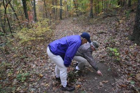George Giunta Lime Disease Agent, and agent for the Conservation Commission for the town of Dover and Barbara Roth-Schechter, Chair of the Dover Board of Health, check out a deer scrape during a walk through the Wylde Woods.