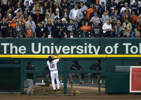Mike Napoli home run was out of reach of Tigers left fielder Andy Dirks.