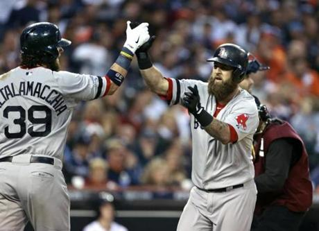 Mike Napoli was congratulated by Jarrod Saltalamacchia after his home run.