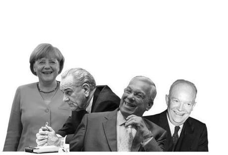 Effective leaders may come off as boring, even proudly unglamorous. From left: German chancellor Angela Merkel, President Lyndon B. Johnson, Mayor Thomas Menino, President Dwight D. Eisenhower.