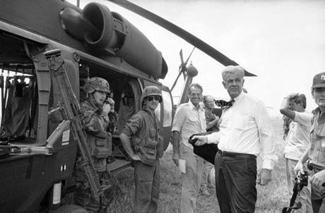 Foley toured Grenada on an Army helicopter to gather information in 1983.