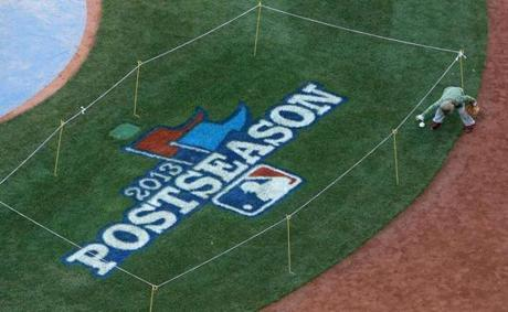 Hank Drew, Stephen Drew's son, chased down a baseball that rolled into the 2013 Postseason logo area behind home plate.