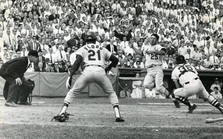 FOctober 4 1967 Red Sox Catcher Russ Gibson Tagged Out Julian Javier As Umpire