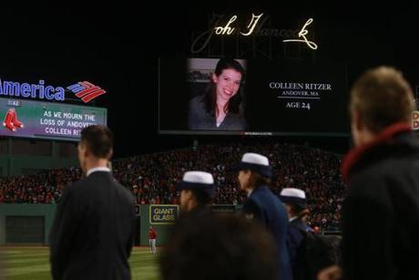 A moment of silence was held for Ritzer before Game One of the World Series at Fenway Park.