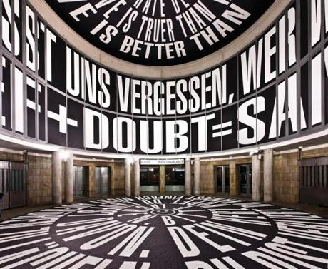 "Barbara Kruger's ""Circus"" installation at the Schirn Kunsthalle gallery in Frankfurt."