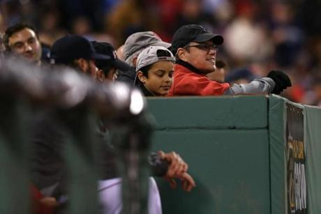 Matt Damon took in the view from Red Sox owner John Henry's box seats beside the Sox dugout.