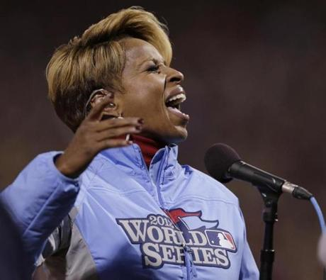 Mary J. Blige sang the national anthem before the World Series opener.