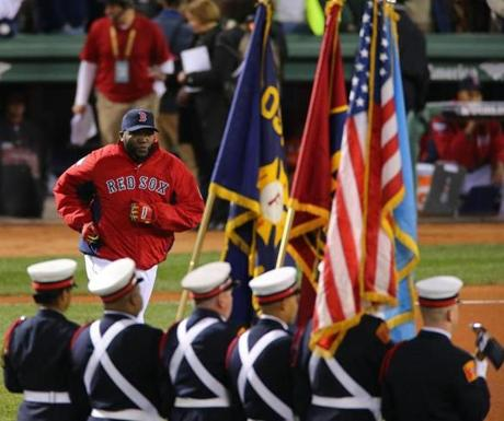 David Ortiz ran onto the field before Game 2 of the World Series against the Cardinals.