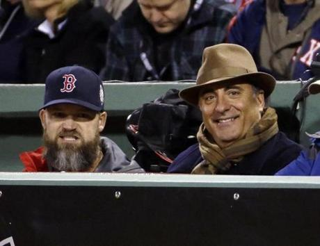 Andy Garcia had great seats, next to the Red Sox dugout and catcher David Ross.