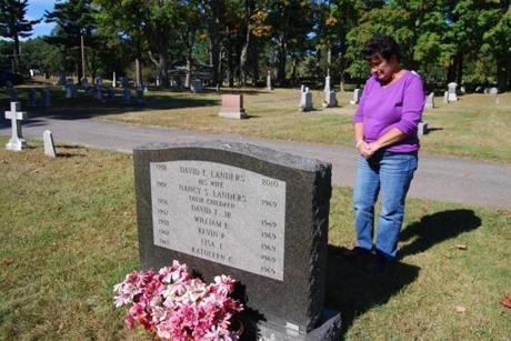 Susan Landers McNamara at the family gravesite.