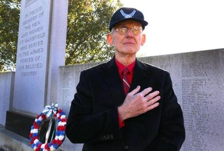 Author Earl Austin visited the Mansfield war memorial.