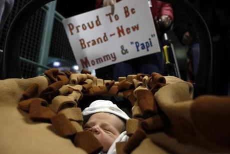 Four-day-old Wesley Geoghegan attended his first Red Sox game.