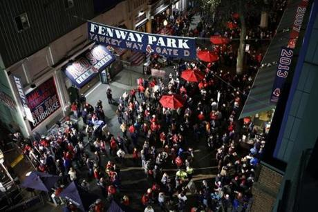 Fans filled Yawkey Way and streamed into the ballpark.