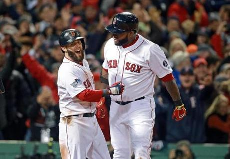 Ortiz was congratulated on his home run.
