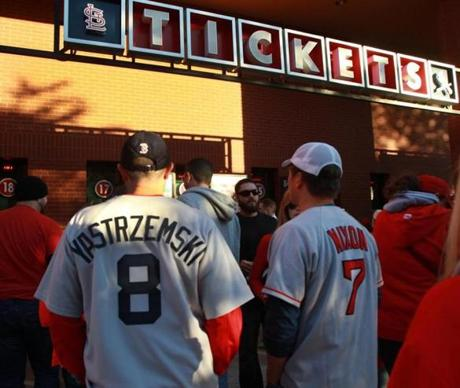 Red Sox fans waited for their tickets.