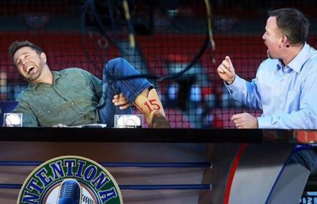 Former Red Sox players Kevin Millar (left) and Sean Casey had some fun on the set of the MLB Network talk show.