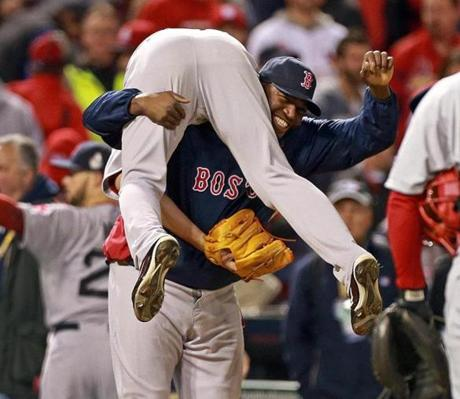David Ortiz lifted Uehara in celebration.