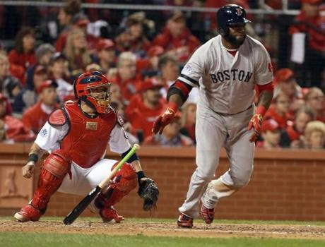 David Ortiz hit a double to start the fifth inning.