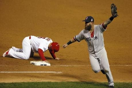 Kolten Wong was picked off at first base for the last out. The Red Sox took a 4-2 win in Game 4.