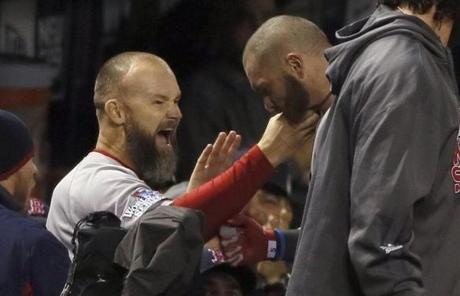 David Ross tugged Gomes's beard in the dugout.