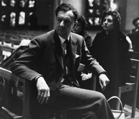 "Britten inside the rebuilt cathedral for the first performance of his ""War Requiem."""