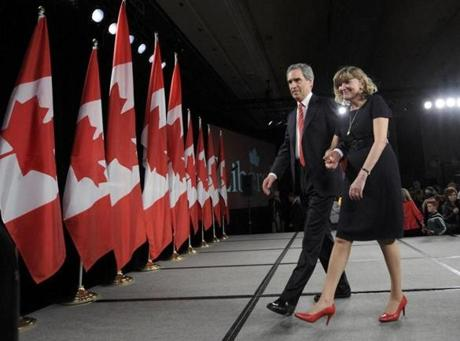 Canada's Liberal leader Michael Ignatieff and his wife Zsuszanna Zsohar left the stage after addressing supporters following his defeat.