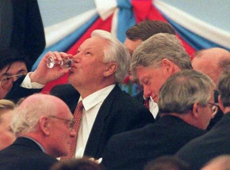 Russian President Boris Yeltsin finished his glass of vodka at a Kremlin reception in 1995.