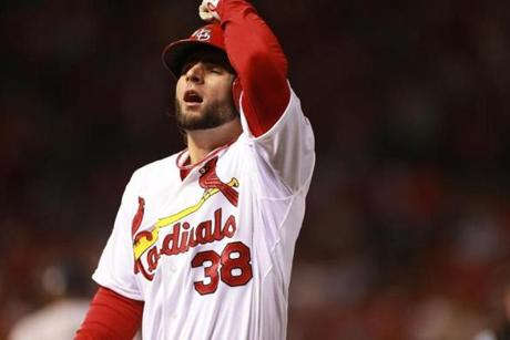 Pete Kozma reacted after being called out in the third inning.