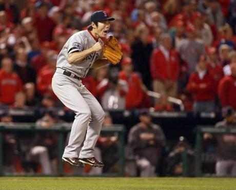 Koji Uehara reacted after the last out.