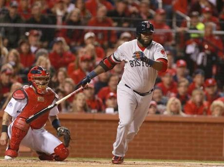 David Ortiz hit a double in the first inning to drive in Dustin Pedroia.