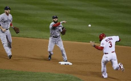 Carlos Beltran was out at second base as Dustin Pedroia threw to first to complete a double play in the second inning.