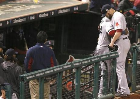 Jon Lester got a hug from David Ortiz after being pulled from the game in the eighth inning.