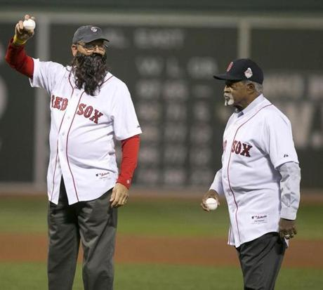 Red Sox greats Carlton Fisk, left (sporting a fake beard), and Luis Tiant threw the ceremonial first pitches.