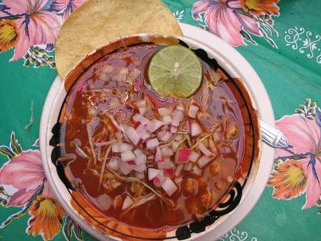 Pozole with shredded pork.