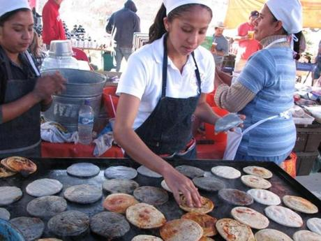Food being prepared in San Miguel.