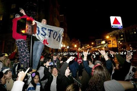 Fans cheered when news of the win arrived at Kenmore Square.