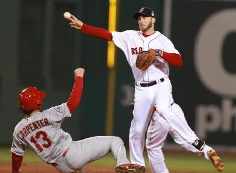 Stephen Drew tagged out Matt Carpenter at second base, then threw to Mike Napoli for a double play in the third inning.