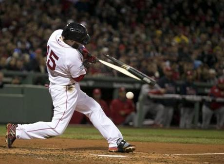 Boston's Dustin Pedroia broke a bat in the third inning.