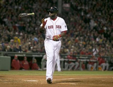David Ortiz threw his bat after being intentionally walked in the third inning.
