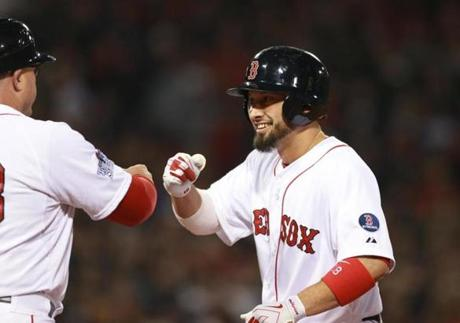Shane Victorino celebrated at first base after hitting an RBI single in the fourth inning,