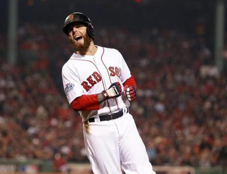 Dustin Pedroia reacted after grounding out in the first inning.