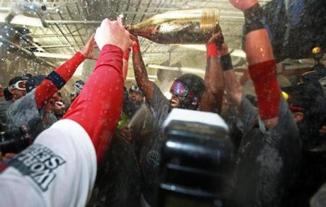 Ortiz poured the bottle on his teammates.
