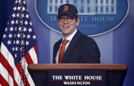White House Press Secretary Jay Carney donned a Red Sox cap Thursday.