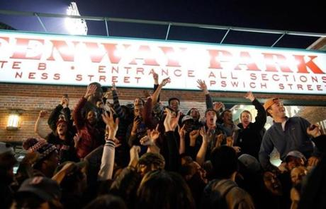 Fans celebrated outside Gate B at Fenway Park.