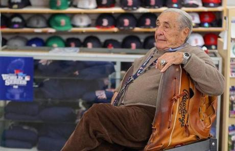 Arthur D'Angelo, 86, sat at his souvenir shop across the street from Fenway Park.