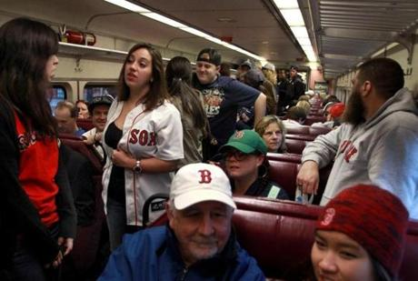 It was standing room only aboard an MBTA commuter train from Rockport as Red Sox fans headed to Boston.